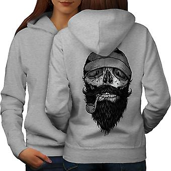 Smoke Beard Skull Women GreyHoodie Back | Wellcoda