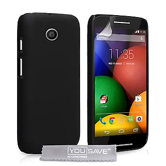 Yousave Accessories Motorola Moto E Hard Hybrid Case - Black
