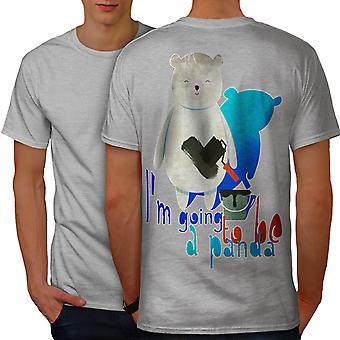 Panda Cute Animal Funny Men GreyT-shirt Back | Wellcoda
