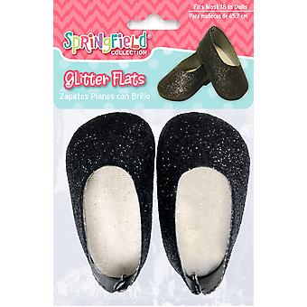 Springfield Collection Glitter Flats-Black 290555FS