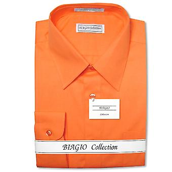Biagio mannen 100% katoen effen jurk Shirt w / Convertible manchetten