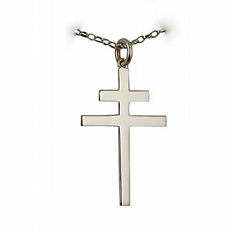 9ct Gold 32x21mm plain Cross of Lorraine with a belcher Chain 16 inches Only Suitable for Children