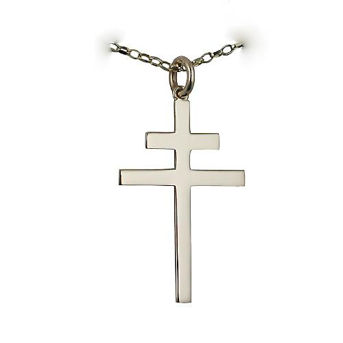 9ct Gold 32x21mm plain Cross of Lorraine with a belcher Chain 24 inches