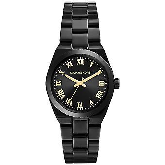 Michael Kors Mini Channing Ladies Watch Black Ion Bracelet Black Dial MK6100
