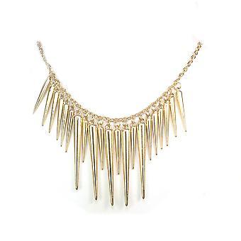 Womens Gold Spike Rivet Tassel Tassle Bib Necklace