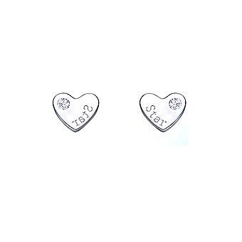 Hearts Silver 925 and Elements white Swarovski crystal earrings