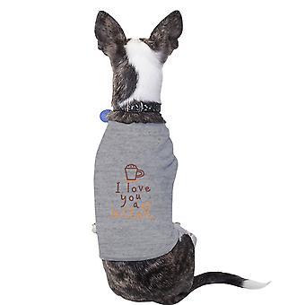 Elske en Latte bomuld Pet skjorte grå små hunde tøj