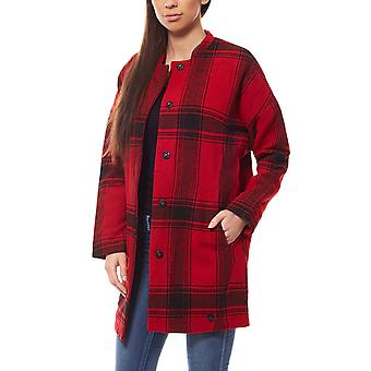 Lee women's spring jacket Plaid wool cocoon Red