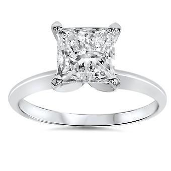 2ct Princess Cut Diamond Solitaire Engagement Ring 14K White Gold