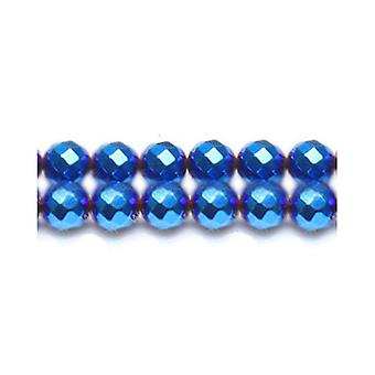 Strand 62+ Blue/Purple Hematite (Non Magnetic) 6mm Faceted Round Beads GS17004-1