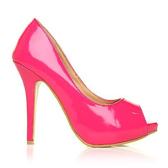 TIA Fuchsia Patent PU Leather Stiletto Very High Heel Platform Peep Toe Shoes