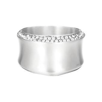 ESPRIT women's ring rostfritt stål Silver Crystal böjd ESRG12542A1