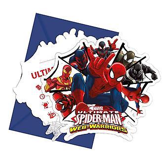 Einladung Invitations Einladungskarte Spiderman Warriors Kinderparty Geburtstag 6 Stück