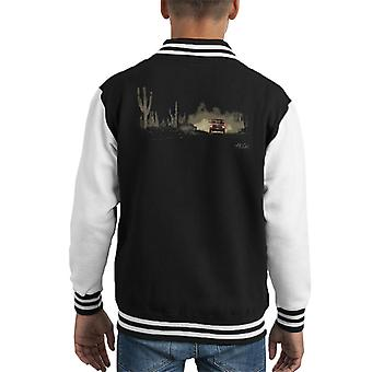 Dodge Truck Dusk Dusty Road Kid's Varsity Jacket
