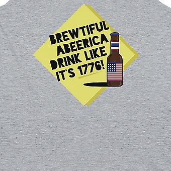 Brewtiful Abeerica Mens Grey Graphic Tank Top Funny Gym Tank Top