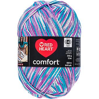 Red Heart Comfort Yarn-White, Turquoise & Violet Print