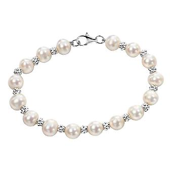 Elements Silver Freshwater Pearl Textured Bracelet - Silver/White