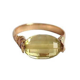 Gemshine - kvinnors - ring - pull-ring - guld pläterad - citron kvarts - gul