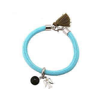 -Bracelet - 925 Silver - gemstone - smoky quartz - Angel - blue - Brown