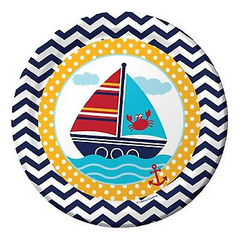 Small sailor plate 23 cm 8 piece sailor party birthday decoration
