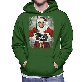 Christmas Mugshot Elvis Presley Men's Hooded Sweatshirt