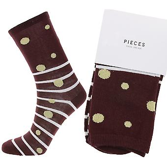 pièces striped women's stockings with red dots