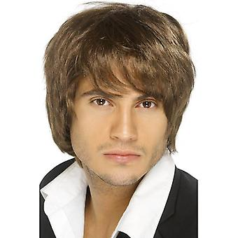 Short Brown Parted Wig, Boy Band Wig, Fancy Dress Accessory