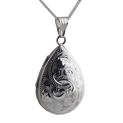 Silver 30x20mm engraved teardrop Locket with a curb Chain 18 inches