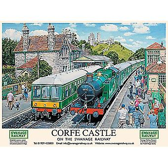 Corfe Castle On The Swanage Railway (old British Rail ad.) 90mm x 65mm fridge magnet  (og)