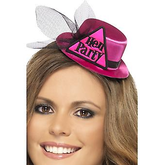 Womens Pink Hen Party Hat with Hairclip & Veil