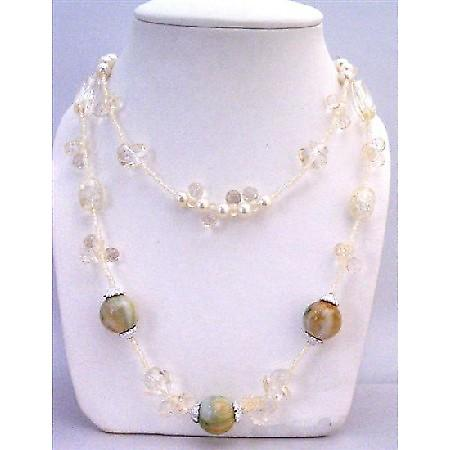 Ivory Tiny Beads Long Necklace Round Multi Shaped Acrylic Clear Beads