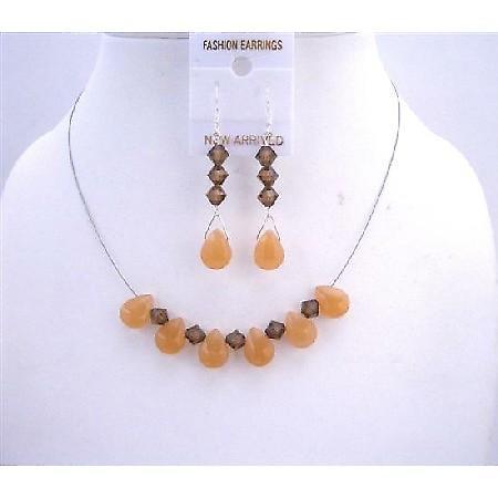 Smoked Topaz Swarovski Crystals Orange Teardrop Glass Beads Necklace