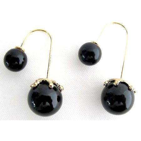 Black Pearl Double Sided Dangling Earrings