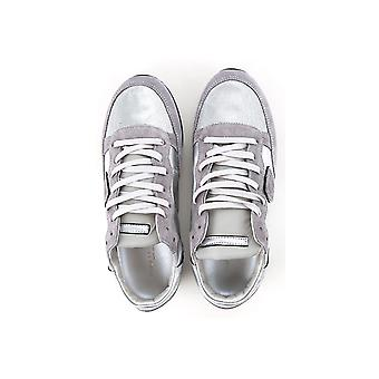 Philippe Model women's sneakers in silver Leather and fabric