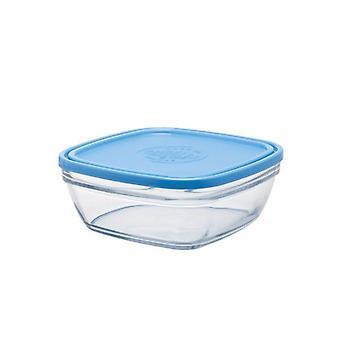 Duralex Lys Square Freshbox Bowl 21cm With Blue Lid Glassware Single Clear Bowl Saladier Stackable