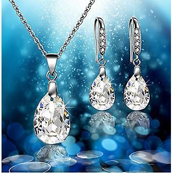 Water Drop 925 Sterling Silver Necklace & Drop Earrings