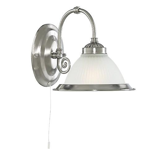 Searchlight 1041-1 American Diner Switched Wall Light With Ribbed Opaque Glass