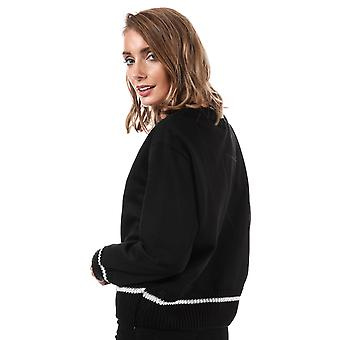 Womens Only Nanna Knit Mix Crew Neck Sweatshirt In Black