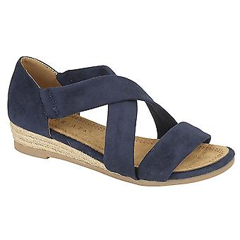 Ladies Womens Sandals Wedge Stretchy Heel-In Crossover Bar Espadrilles Shoes