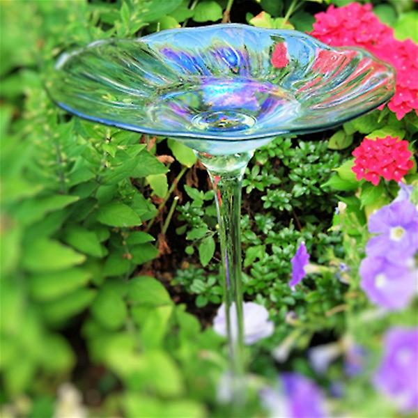 Rainbow Glass Garden Bird Bath