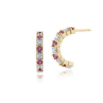 Gemondo 9 kt gult gull 0,24 ct rosa Sapphire & Diamond halv Hoop stil øredobber
