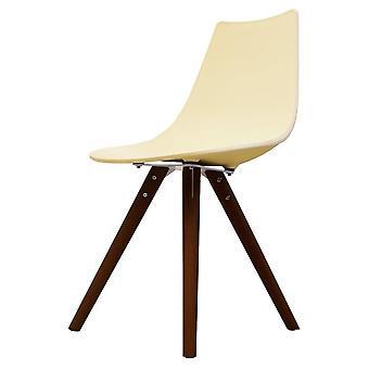 Chaise de salle à manger en plastique iconique de fusion vivant avec des jambes en bois foncé