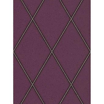 Diamond Leather design wallpaper paars textuur plak muur Rasch kosmopolitische