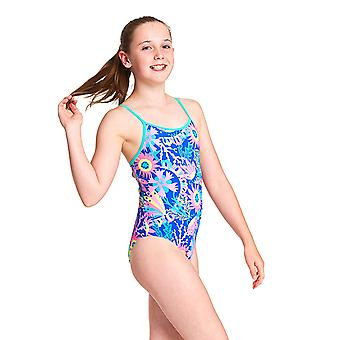 Zoggs Girls Ocean Play Yaroomba Floral One Piece Swimsuit - Blue/Multi