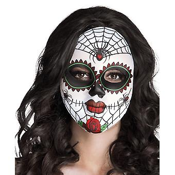Mrs Day of the Dead Face Mask Halloween Accessory