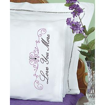 Gestempeld kussenslopen W/White Lace Edge 2/Pkg-Love You Love u meer 1800 633