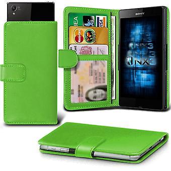ONX3 Sony Xperia E4 / Xperia E4 Podwójny skórzany Universal Spring zacisk etui portfel z uchwyt gniazdo karty i banknoty kieszeń zielony