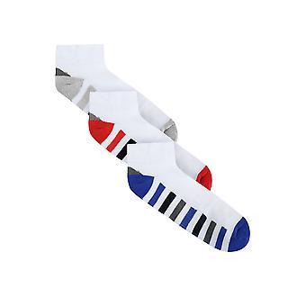 BadRhino White 3 Pack Stripe Sports Liner Socks