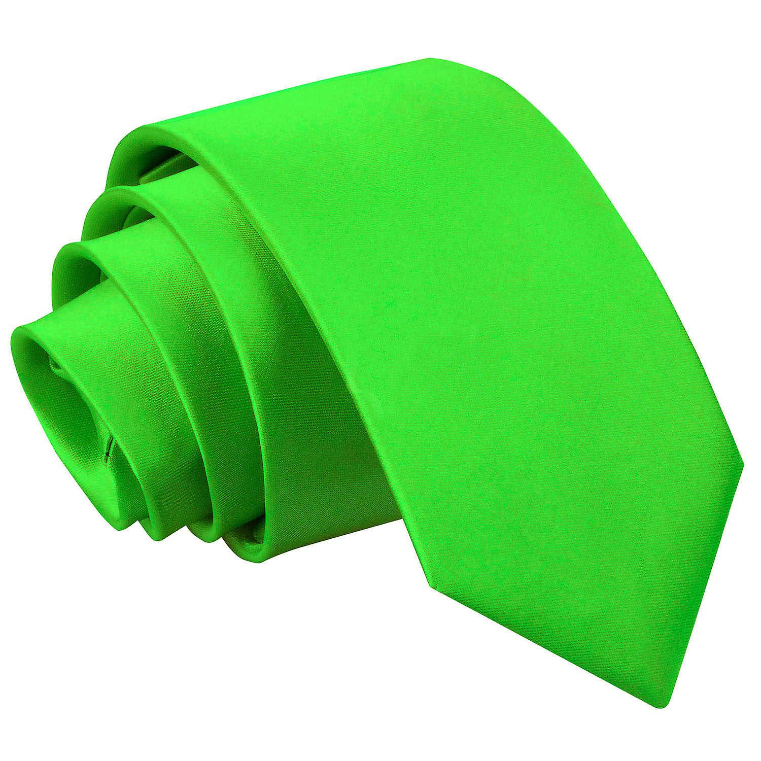 Boy's Apple Green Plain Satin Tie (8+ years)