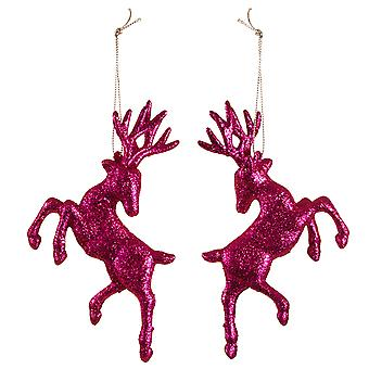 Set of Two Hanging Pink Glitter Reindeer Christmas Decorations